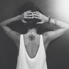 Cute Small Lotus Flower on Upper Back.