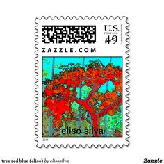 tree red blue (eliso) timbres postales
