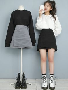Kpop Fashion Outfits, Ulzzang Fashion, Harajuku Fashion, Cute Fashion, Look Fashion, Girl Fashion, Korean Outfit Street Styles, Korean Outfits, Aesthetic Fashion