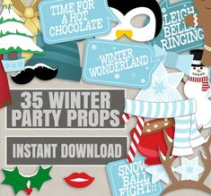 35 Winter Wonderland photobooth props, winter party props, printable winter holidays party, wintery wonderland, diy christmas party blue by YouGrewPrintables on Etsy