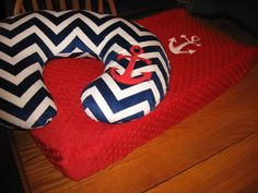 Anchor Nautical Ocean Sailing Changing Pad Cover On by MoMaCreates. LOVE this set