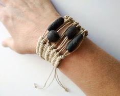 Handwoven beaded braclets for women minimalist ethnic wristband woven textile machette wide tribal cuff boho hemp jewelry african style Hemp Jewelry, Bohemian Jewelry, Boho, Handmade Jewelry, Beaded Braclets, Cord Bracelets, Bracelet Cordon, Weaving Textiles, Polymer Clay Beads
