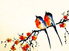 Birds on a branch - printed postcard from my original watercolor painting 4x6 inch. $4.00 on Etsy by Maria Kitano