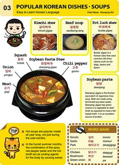 Easy to learn Korean Language: 3 Popular Korean Dishes - Soups Korean Words Learning, Korean Language Learning, Easy Korean Words, How To Speak Korean, Learn Korean, Learn Hangul, Korean Writing, Korean Alphabet, Korean Phrases