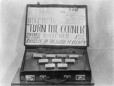 """Please help me to turn the corner"". Unemployed match-box seller's sign, Sydney, Australia c1935 v@e"
