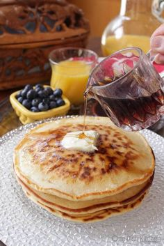 How To MakePancakes for one! This easy recipe makes a small batch of pancakes and is perfect for those Cooking for One.   One Dish Kitchen