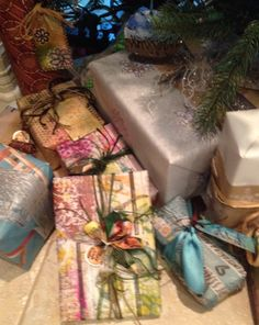 Recycled gift wrapping by Claire.