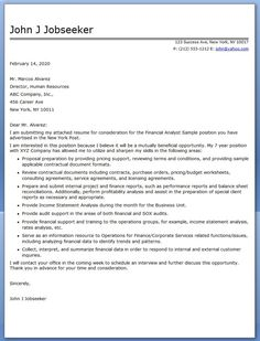 Cover Letter Financial Analyst Sample