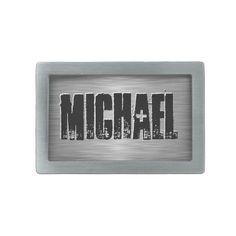 Personalized Name Custom Belt Buckle Black/Gray, $33.95