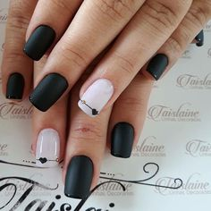 Trendy Matte Black Nails Designs Inspirations - Nails - Best Nail World Matte Black Nails, Black Nail Polish, Black Nail Art, Blue Nail, Black Nail Designs, Acrylic Nail Designs, Nail Art Designs, Acrylic Nails, Nails Design