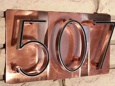 House number Address Plaque, raised numbers on pure polished copper, Custom Addr.