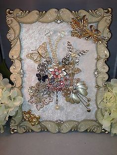 VINTAGE JEWELRY Mosaic Boudoir Glam Ornate Framed Butterfly Floral Fantasy.Design blends well with the frame.