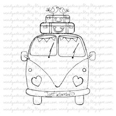 Just Married on Etsy, £ - Drawings - Hand Embroidery Patterns, Embroidery Art, Embroidery Stitches, Embroidery Designs, Doodle Drawings, Doodle Art, Easy Drawings, Digi Stamps, Just Married