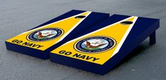 Us Navy Go Navy Themed Regulation Cornhole Game Set. We specialize in custom cornhole games. We make our cornhole boards durable to last a long time. We are the manufacturer so buy direct. Go Navy, Navy Mom, Navy Military, Army & Navy, Us Navy Party, Us Navy Seabees, Tailgate Games, Tailgating, Bon Voyage