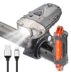BRIVIGA Upgraded Bike Light Set, Bike Headlight USB Rechargeable with Free Tail Light, Waterproof Bicycle Headlight Set, Led Bike Lights Front and Back, Cycling Flashlights Rechargeable Road Bike Accessories, Accessories Online, Helmet Light, Bicycle Headlight, Online Bike, Bicycle Lights, Riding Gear, Bicycling, Flashlight