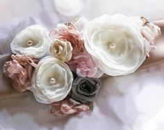 Rachel Bridal Sash Wedding Belt Flowers Ivory Pink Taupe Pearls Rhinestones