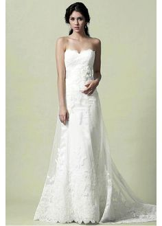 GORGEOUS TULLE SATIN WITH LACE APPLIQUES A-LINE STRAPLESS SWEETHEART NATURAL WAIST BEADED WEDDING DRESS
