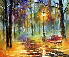 Red bench - Original Oil Painting On Canvas By Leonid Afremov http://afremov.com/RED-BENCH-Original-Oil-Painting-On-Canvas-By-Leonid-Afremov-20-x24-50cm-x-60cm.html?bid=1&partner=15955