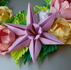 Baby Pink and Yellow Rose Origami Wreath Easter wreath by Lusine