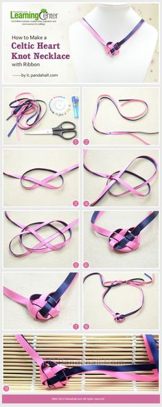 How to Make a Celtic Heart Knot Necklace with Ribbon by wanting