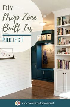 Custom Mudroom Drop Zone from Prefab Cabinets - Dream It. Build It. Entry Way Design, Drop Zone, Ikea Cubbies, Prefab Cabinets, Mudroom, Diy Home Decor, Home Diy, Custom Cabinets, Living Room Built Ins
