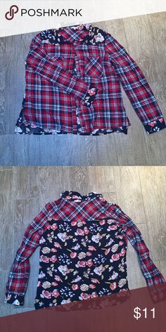 Floral Plaid Shirt Great condition no holes or stains! Thanks for looking! Tops Button Down Shirts