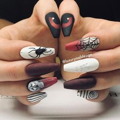 Check out our tips for applying top Halloween nail ideas in 2019 between pumpkin nails, candy corn nails, spider web nails, Halloween press on nails, & stickers Halloween Nail Designs, Halloween Nail Art, Cute Nail Designs, Spooky Halloween, Halloween Ideas, Candy Corn Nails, Cotton Candy Nails, Holloween Nails, Goth Nails