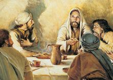 Great image of Jesus speaking to a small group, hanging on His every word.