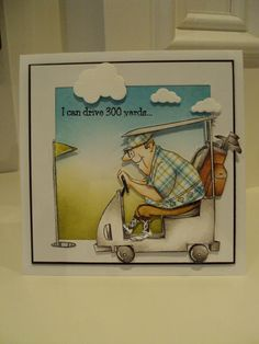 Art Impressions Rubber Stamps: Ai Work and Play: 4902 – Par-Tee Golfers Set. Handmade golf sports card.