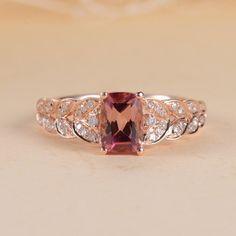 Etsy Engagement Ring Cushion Cut Tourmaline Unique Engagement Ring Rose Gold Leaf Diamond Anniversary Oct