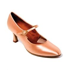 International-Dansport Ladies Ballroom Dance Shoes in Tan Satin with 2.5 Inch Heel. C205 *** Continue to the product at the image link.