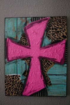 cross canvas for boy 16 x 20 handpainted