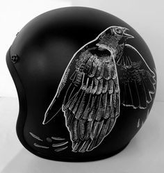 I would LOVE one with crows or koi fish!!! Custom Lids - Custom Designed Motorcycle Helmets - King of Fuel