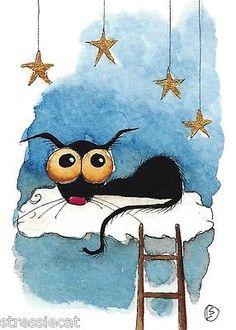 ACEO Original Watercolor Folk Art Illustration Stressie Cat Cloud Precious Dream | eBay