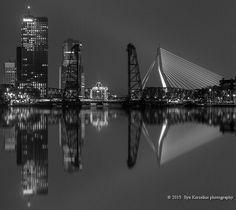 Skyline Rotterdam at night.