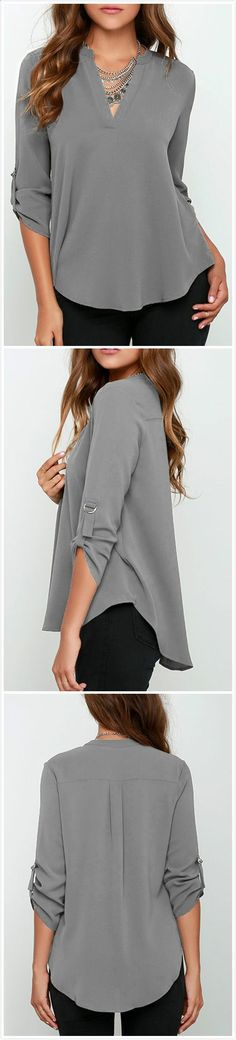 Do you wear blouse? Optimize your comfort and beauty with this Solid Color V Neck Blouse. OASAP.comwill give you a hot hit !