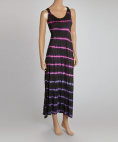 Another great find on #zulily! Black Thin Stripe Ruched Maxi Dress by Raya Sun #zulilyfinds