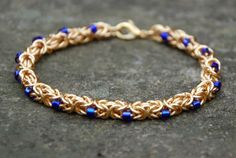 Byzantine Bracelet With Cobalt Blue Seed Beads - Bracelets and Anklets - Gallery - TheRingLord