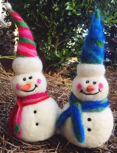Needle Felted Snowmen By SA Barr #snowman, #needlefelt