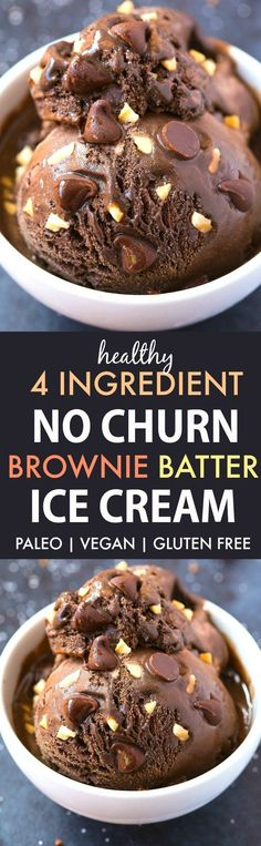 4 Ingredient No Churn Brownie Batter Ice Cream (V, GF, Paleo)- An easy and guilt-free 4 ingredient recipe for thick and creamy brownie batter ice cream! {vegan, gluten free, dairy free, sugar free}- thebigmansworld.com