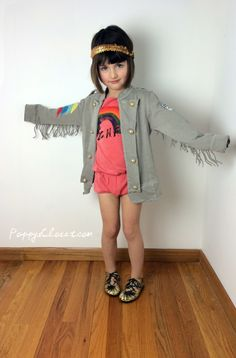 Bobo Choses Apache Jacket with olympic patch, Rainbow Flashdance Tribute Romper and Lil Fut Eco Toddler Moccasins // PoppysCloset.com #kids