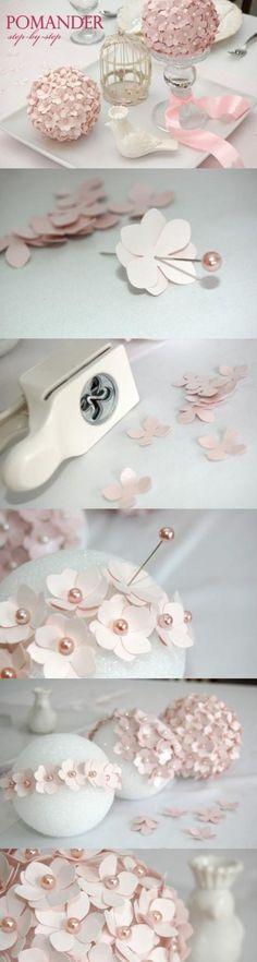 Craft paper, puncher, pins, foam ball = romantic decor