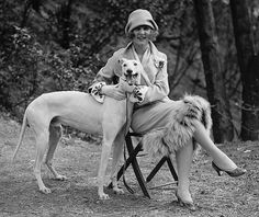 margaret gorman, the first miss america, posing with her greyhound long goodie, 1925
