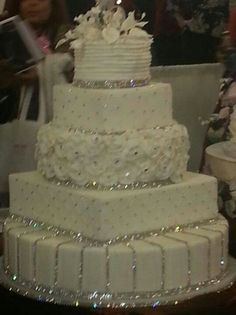 A four tier bling wedding cake decorated with rhinestone/diamante bands, Swarovs. A four tier bling wedding cake decorat. Beautiful Wedding Cakes, Gorgeous Cakes, Pretty Cakes, Amazing Cakes, Dream Wedding, Elegant Wedding Cakes, Wedding White, Perfect Wedding, Bling Wedding Cakes