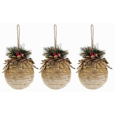 Give your home the charm of a comfy Christmas cottage with Polyfoam Glitter Ornament Balls with Greenery. With a sprinkle of sparkly gold glitter, pine greenery, and berries, these ornaments will be r