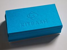 Letterpress business cards for Kitbash Brand Design: blind deboss with painted edges.