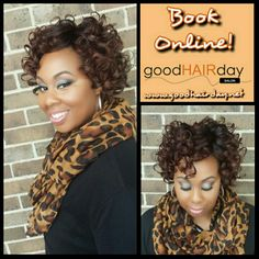 Sew in with closure and color! Curls! Two Strand Twist Up Do! Relaxed Style: Short Cut, Waves and Curls Relaxed Styles, Natural Styles, Keratin Treatments, Custom Color, Precision Cuts, Make up, Facials, Waxing and more!  Book online!  www.goodhairday.net