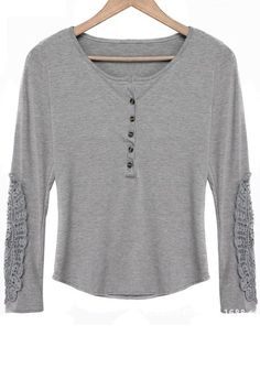 Love the Lace Elbow Pads! Comfy Grey Lace Spliced Scoop Neck Long Sleeves T-Shirt #Comfy #Casual #Grey #Lace #T_Shirt #Fashion
