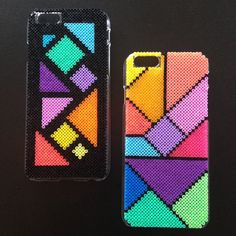 iPhone 6 hard plastic case cover decorated with hama mini beads by BlackChameleon