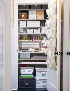How to Get A Super Organized Family Closet - Part craft room, part mini office, part household toolbox—all neat and organized. This can-do clo - Organisation Hacks, Best Closet Organization, Office Supply Organization, Organizing Ideas, Organizing Solutions, Decluttering Ideas, Office Organization, Organising, Storage Solutions